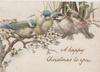 A HAPPY CHRISTMAS TO YOU four blue-birds on branch with pale blue blossom, all above a pond with purple iris
