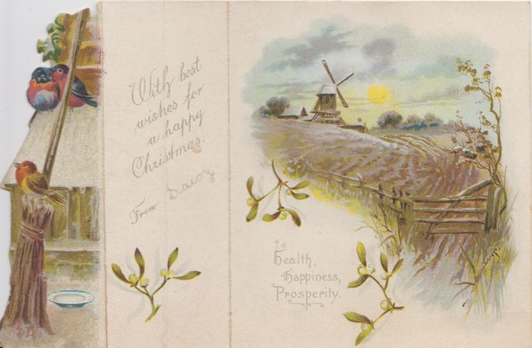 no front title 3 robins perch left, mistletoe on centre & right panels, rural view with windmill right