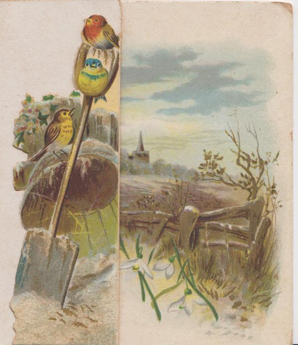 no front title, 2 robins & bluebird perch left, sparse snowdrops on centre & right panels, rural view with church back