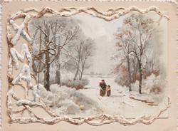 rural view, person & child walk away down snowy road, between trees & bushes