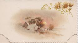 sunset winter view, farm buildings with sun behind, card incomplete missing bottom flap