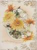 WITH ALL GOOD WISHES below yellow chrysanthemums on heavily perforated front