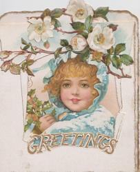 GREETINGS many white roses above very large cut-out to reveal girl wearing snowy blue jacket & hood, carrying holly