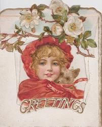 GREETINGS many white roses above very large cut-out to reveal girl wearing red jacket & hood, holding puppy against her neck