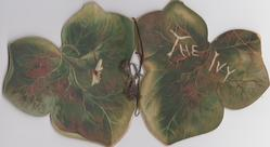 die-cut leaf shaped, green leaf, THE IVY, poem, flowers, rural,