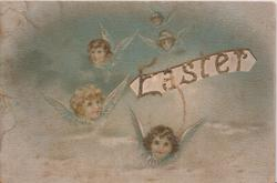 EASTER on perforated front, much text for Easter, angels front & back  & rural scenes