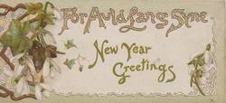 gilt NEW YEAR GREETINGS  --  FOR AULD LANG DYNE floral & rural vignettes