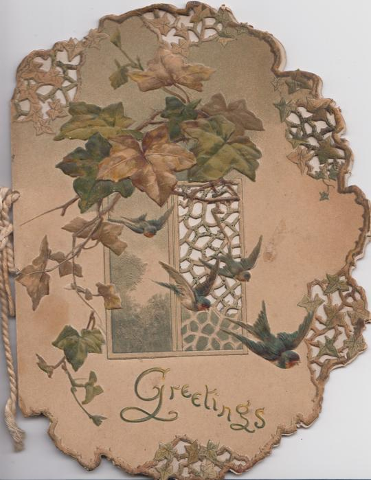 GREETINGS below ivy leaves above window which is half perforated, birds fly above