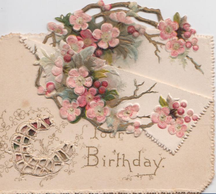 YOUR BIRTHDAY, perforated horseshoe, many pink wild roses behind