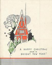 A HAPPY CHRISTMAS AND A BRIGHT NEW YEAR! red house with silver moon behind, shrubbery