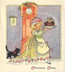 CHRISTMAS CHEER girl in yellow dress with hearts holds Christmas pudding, black cat left, clock behind