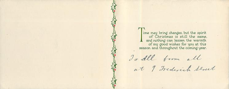 THERE SEEMS A MAGIC IN THE VERY NAME OF CHRISTMAS -- DICKENS quotation surrounded by holly on green/black background