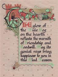 THE GLOW OF THE YULE LOG ... THIS GLAD SEASON elves pull log for hearth fire, gilt decoration