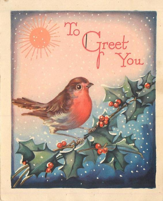 TO GREET YOU robin sits on holly branch, falling snow, sun upper left