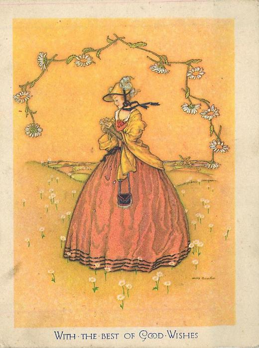 WITH BEST OF GOOD WISHES woman faces part left, holding daisy, daisy chain above, yellow background