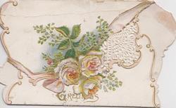 GREETINGS in gilt on flap below, 3 white & orange roses & ginko leaves on top flap