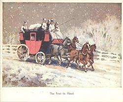THE FOUR IN HAND four horses pull coach right down snowy road, white border