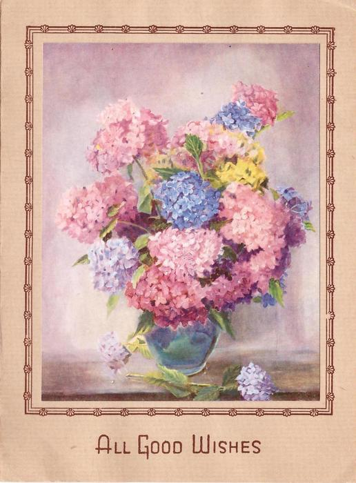 ALL GOOD WISHES blue vase with pink and blue hydrangeas, brown border with stylised flowers