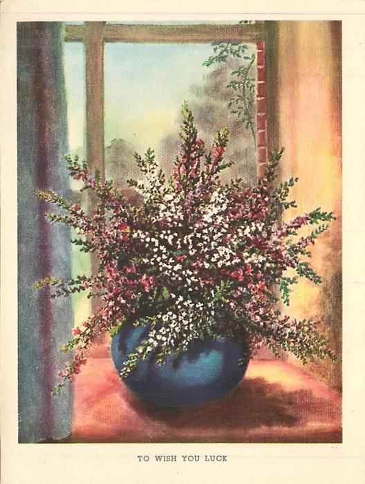TO WISH YOU LUCK blue vase with purple and white heather