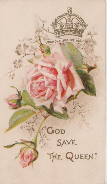 """""""GOD SAVE THE QUEEN"""" in gilt, pink rose & 2 buds blow gilt crown DIAMOND JUBILEE 1897"""