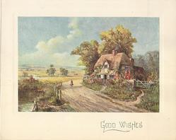 GOOD WISHES in distance, girl walks up dirt road carrying two pails, farmhouse right