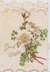 GOOD WISHES left, white wild roses & ginkgo leaves below perforated design