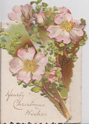 HEARTY CHRISTMAS WISHES pink wild roses on side flaps & top