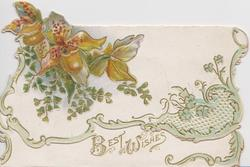 yellow orchids & ginkgo leaves on top flap over gilt BEST WISHES on bottom flap