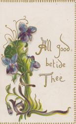ALL GOOD BETIDE THEE violets left as part of complex design on front