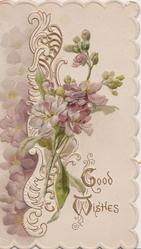 GOOD WISHES violets & design left, gilt