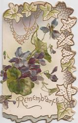 REMEMBRANCE violets on front above, ivy leaf design top & right margins