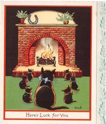 HERE'S LUCK FOR YOU black cat and 6 kittens face hearth fire, red border