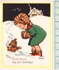 MAY HAPPINESS DOG YOUR FOOTSTEPS young girl leans towards puppy in snow, yellow border