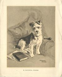 A FAITHFUL FRIEND terrier sits on armchair, pipe right, book left