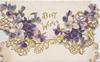 BEST WISHES in gilt between violets on much perforated top flap