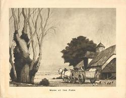 WORK AT THE FARM prominent tree left, two horses & cart centre, farmhouse right