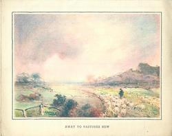 AWAY TO PASTURES NEW shepherd tends flock right, rolling dusky pink sky