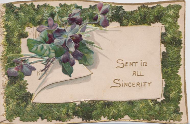 SENT IN ALL SINCERITY  bunch of blue violets on perforated designed front with mossy border