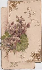 HEARTY WISHES in gilt on embossed violets in 2 hearts on perforated design left flap