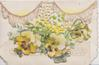 BEST WISHES on narrow bottom flap, 3 yellow & white pansies below perforated net design on top flap