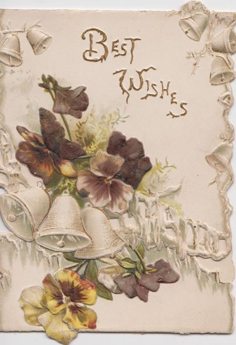 BEST WISHES,  multi-colouresd pansies on both front flaps, 3 white bells & bell designs on top flap