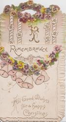 REMEMBRANCE  yellow & purple pansies, white & pink bells, ALL GOOD WISHES FOR A HAPPY CHRISTMAS