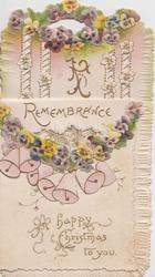 REMEMBRANCE  yellow & purple pansies, white & pink bells,  A HAPPY CHRISTMAS TO YOU