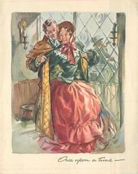 ONCE UPON A TIME gentleman assists lady with her overcoat, old-style dress