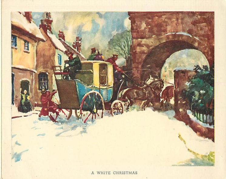 A WHITE CHRISTMAS coach with horses passes under archway in snow, view from behind