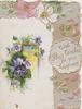 WITH BEST WISHES FOR YOUR HAPPINESS purple & white pansies, wild roses & design above & right