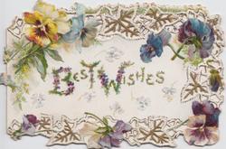 BEST WISHES multi-coloured pansies around margins, embossed