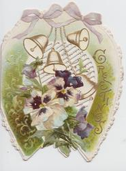 GREETINGS right, ribbons & bells above purple & white pansies in green horseshoe shaped design