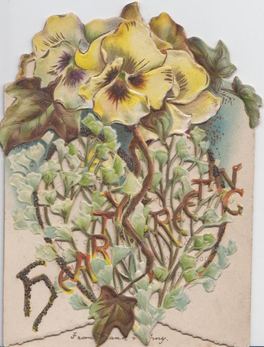HEARTY GREETINGS yellow & purple pansies, above perforated ginkgo stalks & leaves, embossed