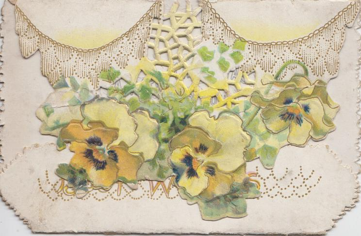BEST WISHES on lower flap, purple, yellow & white pansies below white perforated net on top flap